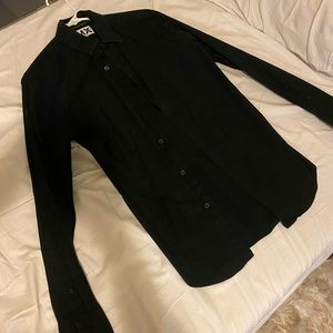 Express extra slim fit black button up